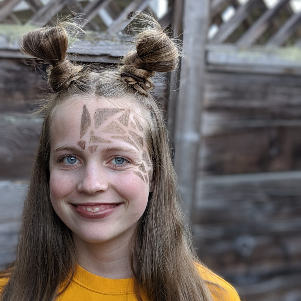 Carly with her Giraffe Halloween Costume