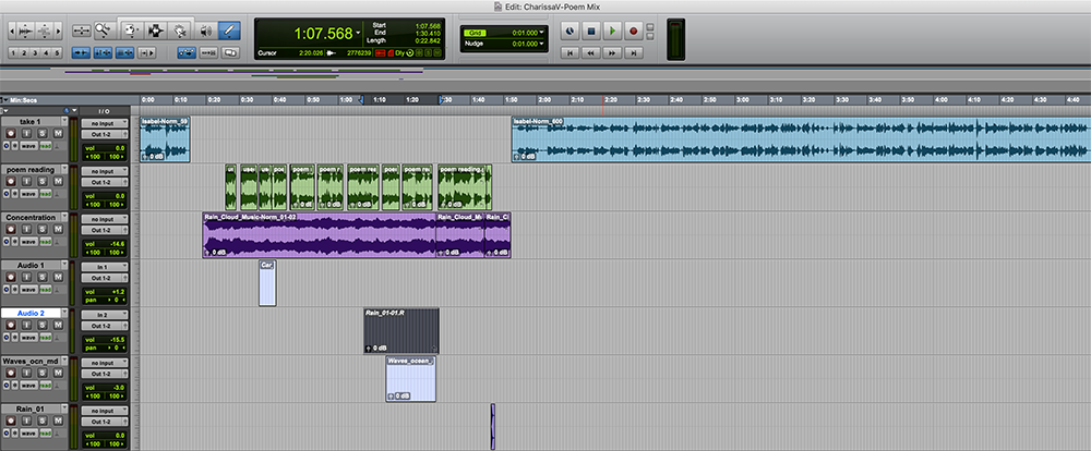 A screenshot of a poetry audio Pro Tools session.