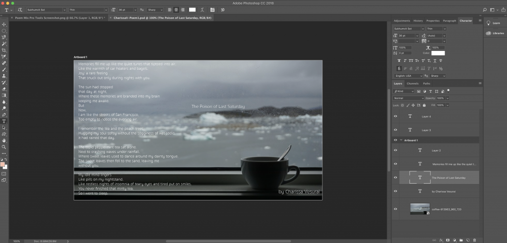 A screenshot of Photoshop for making the photo poem.