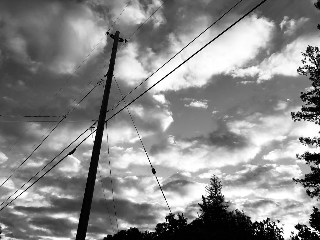The image is of a telephone wire in the sky with stormy clouds above the side, a little foliage of trees frames the bottom right corner, and it is in black and white