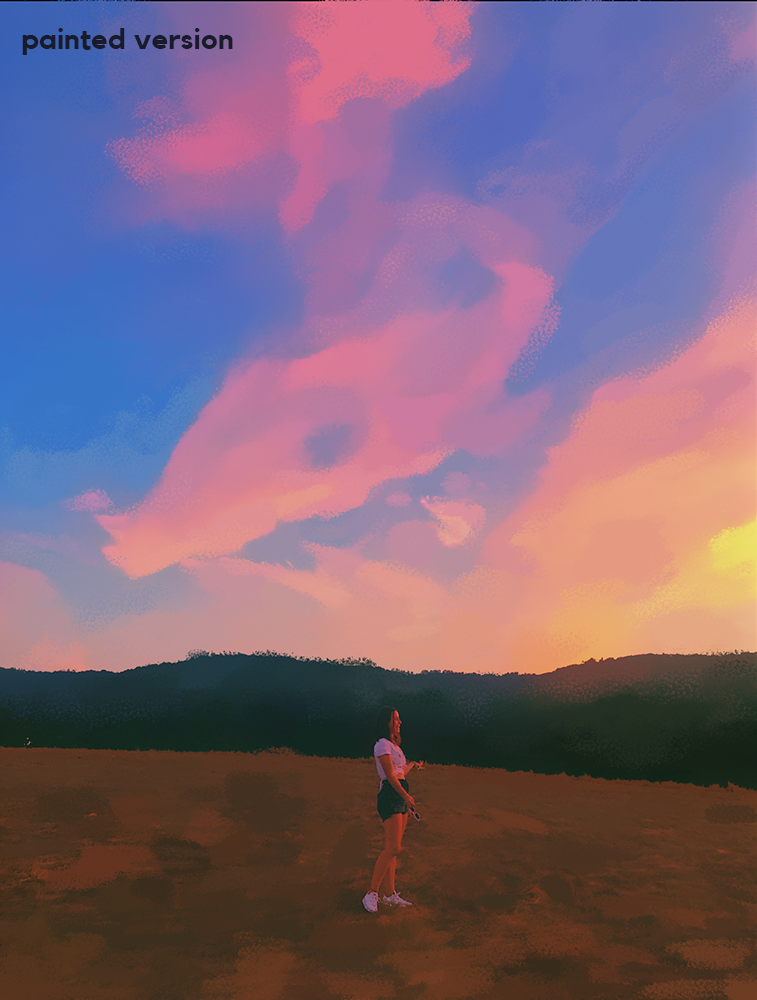 sunset hill girl painted