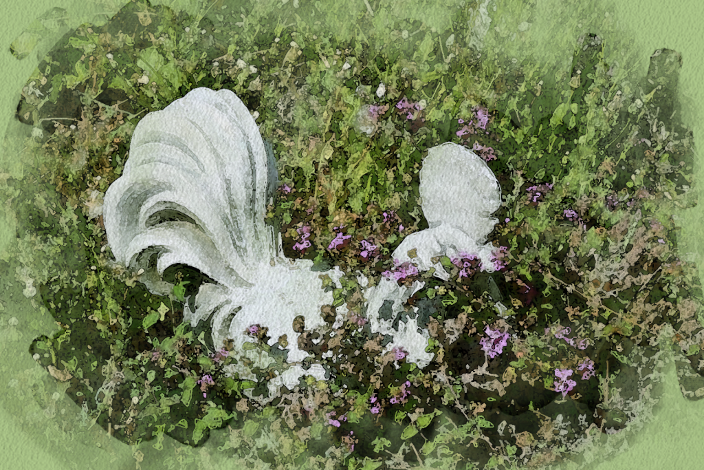 A sculpture of a rooster made to look like water color with Photoshop