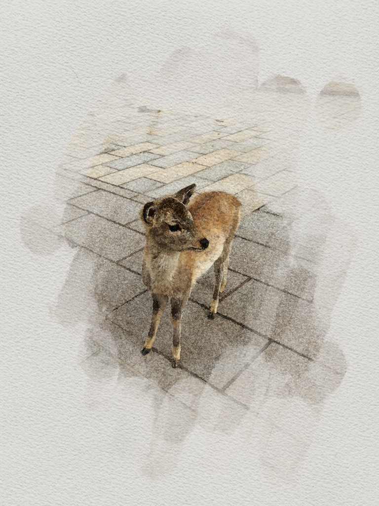 A deer made to look like water color with Photoshop.