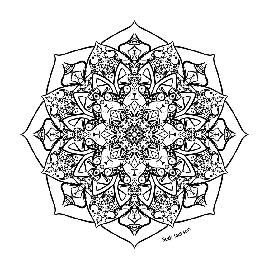 A black and white mandala.