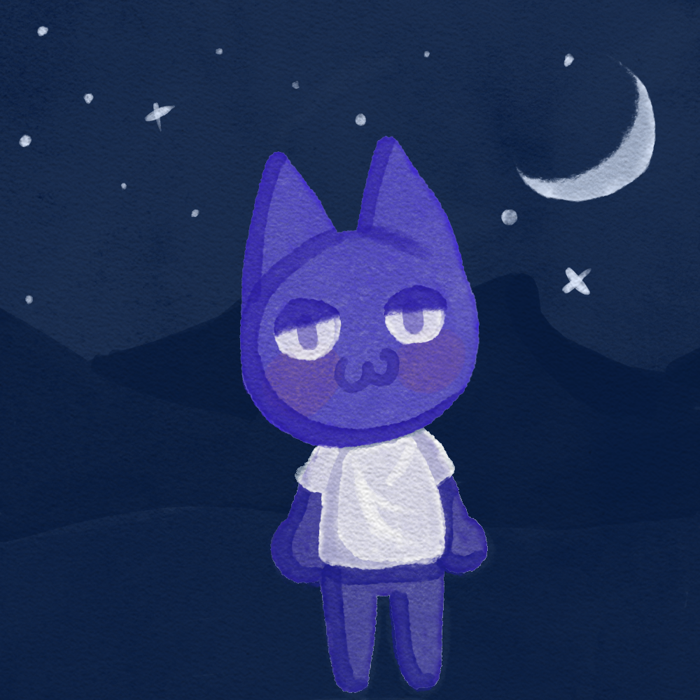 A small digital watercolor of a cat at night.