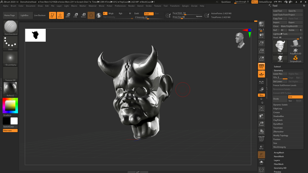 My Zbrush interface while I worked on my head model.