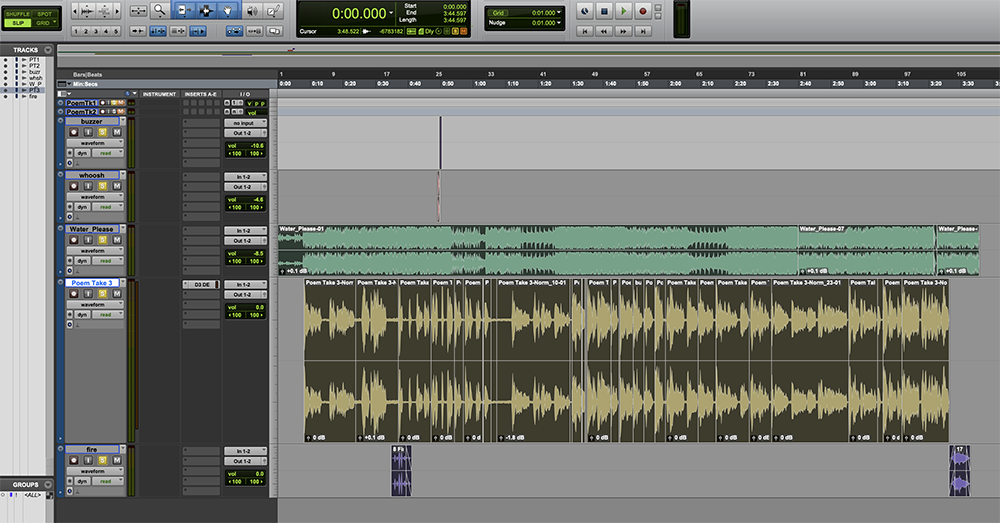 I used Pro Tools to put together my voice recording with sound effects and music.